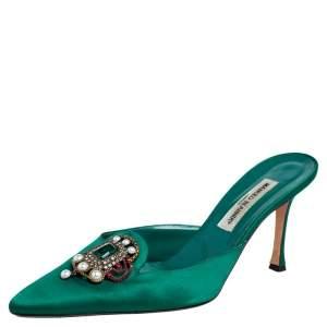 Manolo Blahnik Green Eufrasia Mule Sandals Size 42