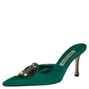 Manolo Blahnik Green Satin Hangisi Sandals Size 41