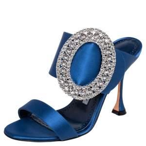 Manolo Blahnik Blue Satin Fibiona Crystal Embellished Mules Size 35.5