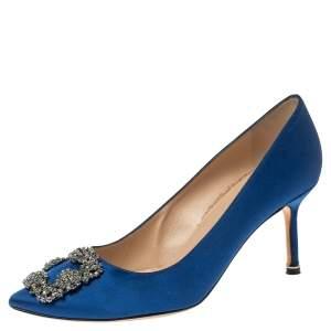 Manolo Blahnik Blue Satin Hangisi Pumps Size 39