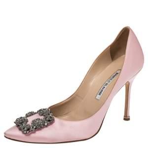Manolo Blahnik Pink Satin Hangisi Pumps Size 39