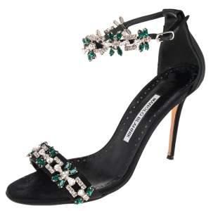 Manolo Blahnik Black Satin Embellished Ankle Strap Sandals Size 38.5