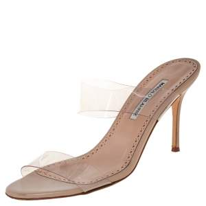 Manolo Blahnik  Beige PVC And Leather Slide Sandals Size 39.5