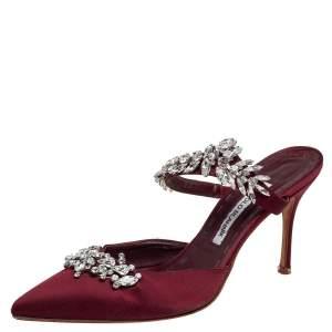 Manolo Blahnik Burgundy Satin Lurum Crystal Embellished Pointed Toe Sandals Size 40