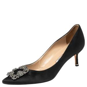 Manolo Blahnik Black Satin Hangisi Embellished Pointed Toe Pumps Size 38