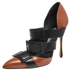 Manolo Blahnik Black/Brown Leather Buckle Details Pointed Toe Pumps Size 39