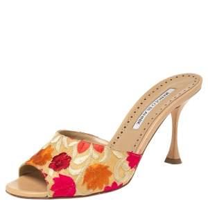 Manolo Blahnik Multicolor Lurex Fabric Sandals Size 37.5