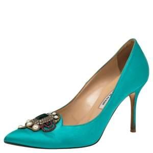 Manolo Blahnik Green  Satin Pearl Embellished  Pumps Size 38
