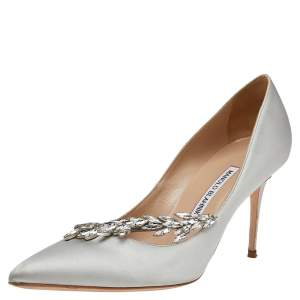 Manolo Blahnik Grey Satin Jewel Nadira Pointed Toe Pumps Size 39