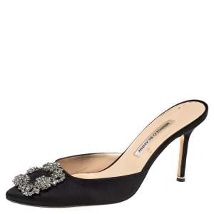 Manolo Blahnik Black Satin Hangisi Pointed Toe Mules Size 38.5