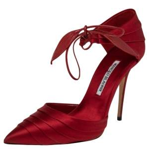Manolo Blahnik Red Satin Reya Pleated Pointed Toe Ankle Wrap Pumps Size 37