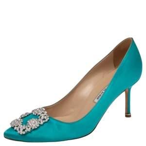Manolo Blahnik Green Satin Hangisi Crystal Embellished Pumps Size 38