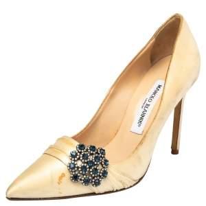 Manolo Blahnik Beige Satin Crystal Embellished Pointed Toe Pumps Size 37
