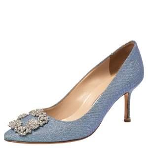 Manolo Blahnik Blue Glitter Fabric Hangisi Pumps Size 36.5