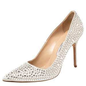 Manolo Blahnik Silver Crystal Embellished BB Pointed Toe Pumps Size 39