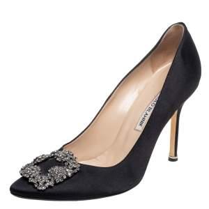 Manolo Blahnik Black Satin Hangisi Pointed Toe Pumps Size 38