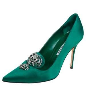 Manolo Blahnik Emerald Green Satin Embellishment Pumps Size 39.5