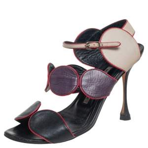 Manolo Blahnik Multicolor Leather Court Out  Ankle Strap Sandals Size 36.5
