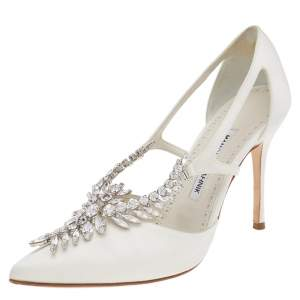 Manolo Blahnik White Satin Lala Crystal Embellished Pointed Toe Pumps Size 38