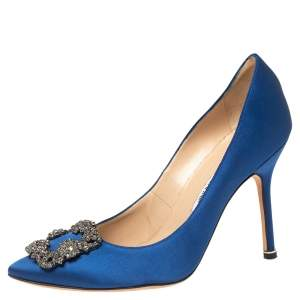 Manolo Blahnik Blue Satin Hangisi Pointed Toe Pumps Size 38