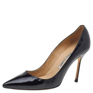 Manolo Blahnik Black Patent Leather BB Pointed Toe Pumps Size 41.5