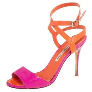 Manolo Blahnik Fuschia Pink/Orange Leather Ankle Strap Sandals Size 38