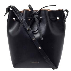 Mansur Gavriel Black Leather Drawstring Bucket Bag