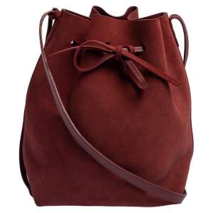 Mansur Gavriel Maroon Nubuck Leather Large Bucket Bag