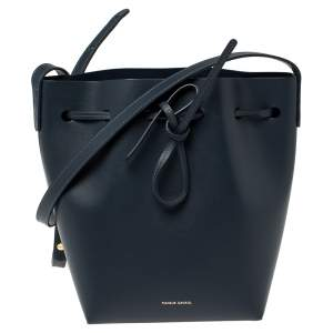 Mansur Gavriel Navy Blue Leather Drawstring Bucket Bag