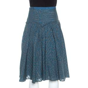 Marc Jacobs Blue Floral Printed Cotton Lurex Striped Midi Skirt M