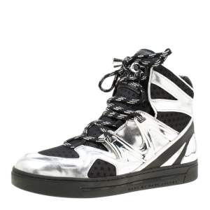 Marc by Marc Jacobs Metallic Silver/Black Leather And Mesh High Top Sneakers Size 38