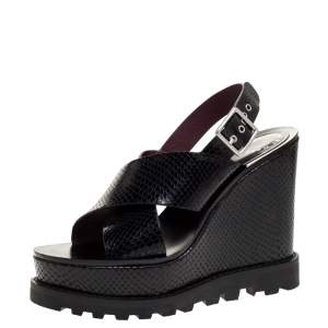 Marc by Marc Jacobs Black Python Embossed Leather Wedge Platform Ankle Strap Sandals Size 39
