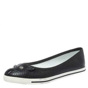 Marc by Marc Jacobs Black Perforated Leather Mouse Ballet Flats Size 36