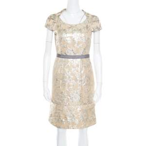 Marc By Marc Jacobs Beige Floral Lurex Jacquard Contrast Waistband Cap Sleeve Dress S