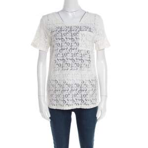 Marc by Marc Jacobs Off White Floral Lace Short Sleeve Top M