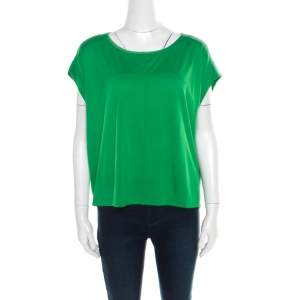 Marc by Marc Jacobs Parrot Green Jersey Bow Back Detail Short T-Shirt M