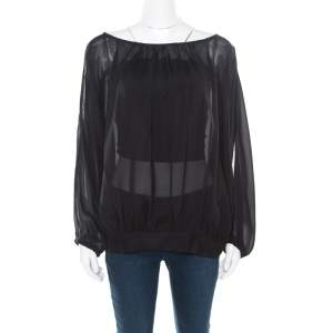 Marc by Marc Jacobs Black Sheer Silk Slit Batwing Sleeve Blouse M/L