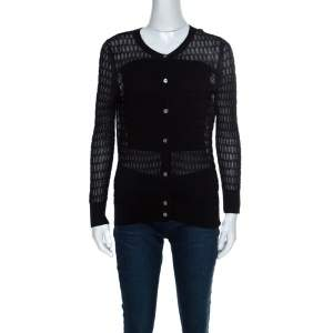Marc by Marc Jacobs Black Perforated Knit Cotton Blend Button Front Cardigan S