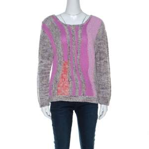 Marc by Marc Jacobs Grey & Purple Cotton Blend Hand Knit Sweater M