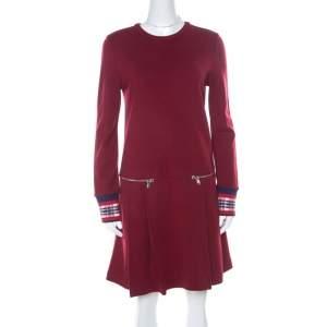 Marc by Marc Jacobs Burgundy Wool Drop-Waist Back Button Detail Dress S