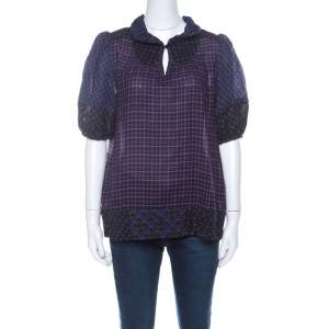 Marc by Marc Jacobs Multicolor Wool & Silk Blend Mixed Print Puff Sleeve Polo Shirt L