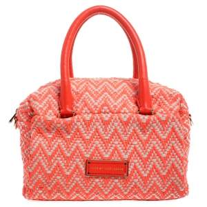 Marc by Marc Jacobs Neon Orange Tweed Fabric Boston Bag