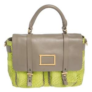 Marc by Marc Jacobs Neon Green/Grey Woven Patent Leather and Nylon Werdie Top Handle Bag