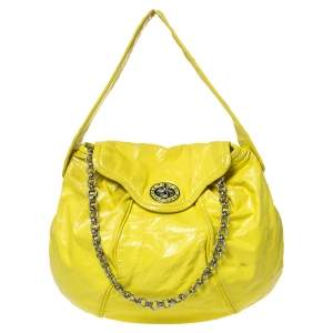Marc by Marc Jacobs Yellow Patent Leather Turnlock Flap Chain Hobo