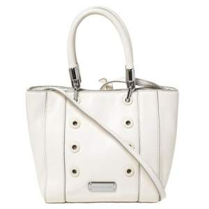 Marc By Marc Jacobs White Leather Eyelet Tote