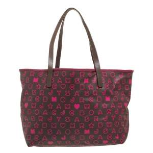 Marc by Marc Jacobs Brown/Pink Pvc and Leather Easy Tote