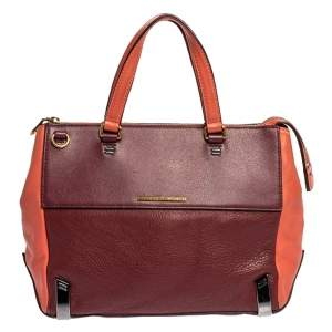 Marc by Marc Jacobs Burgundy/Orange Leather Zipped Satchel