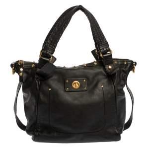 Marc by Marc Jacobs Black Leather Spike Studded Shoulder Bag