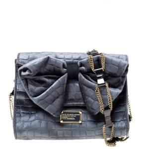 Marc by Marc Jacobs Grey Velvet Shoulder Bag