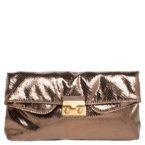 Marc by Marc Jacobs Metallic Bronze Snakeskin Effect Patent Leather Pushlock Flap Clutch